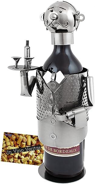 Flaschenhalter Barkeeper 32 cm Flaschenständer Kellner Weinhalter Metallständer
