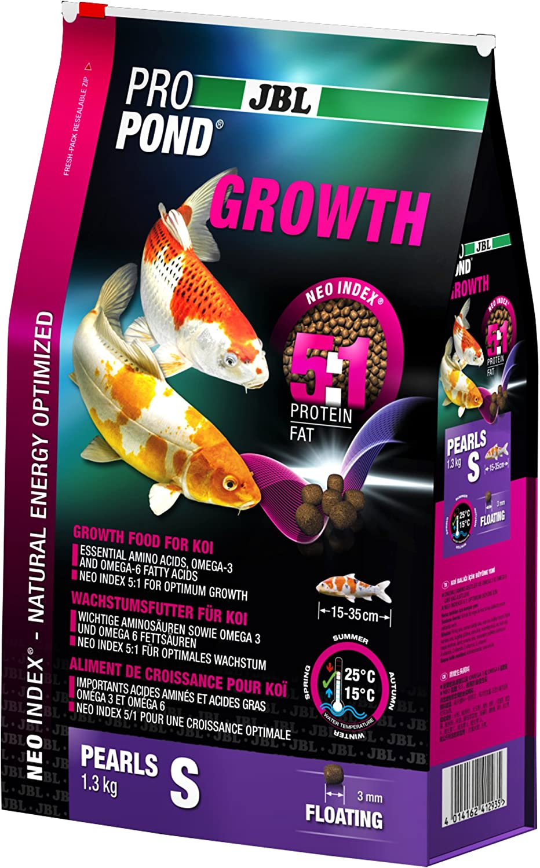 JBL Comida de Crecimiento para Peces Koi flotantes, Especial para propond Growth, tamaño pequeño, 1,3 kg