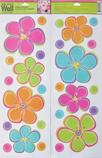 Great Main Street Wall Creations Jumbo Stickers   Colorful Flowers Part 6