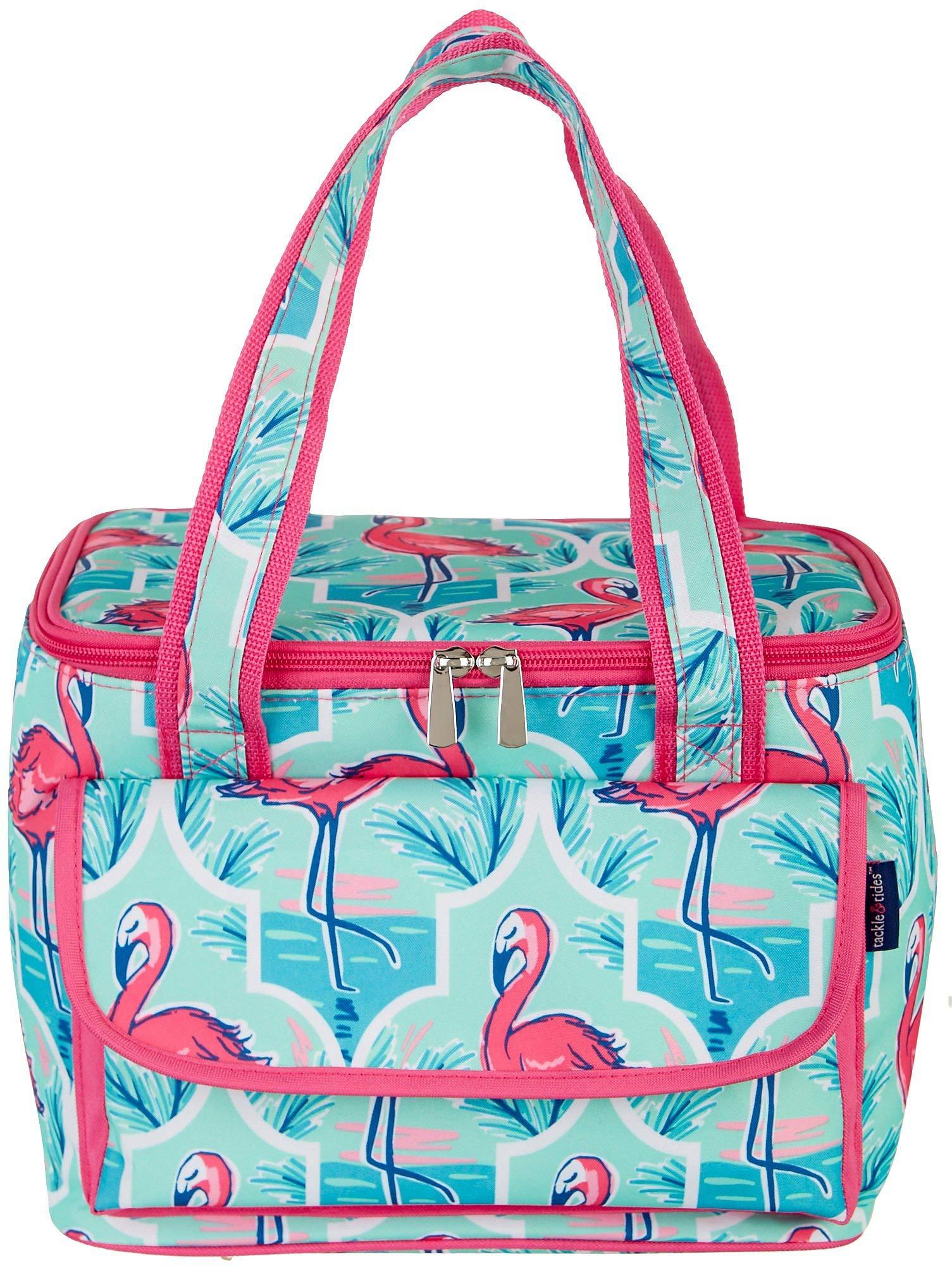 Tackle & Tides Flamingo Trellis 16 Can Cooler Tote One Size Aqua Blue//Pink