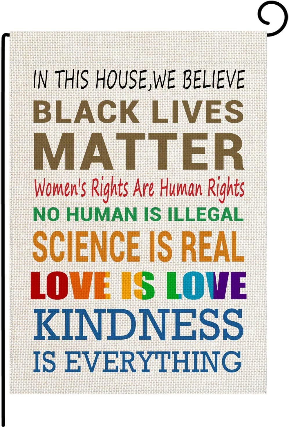 pingpi in This House We Believe Black Lives Matter Garden Double Sided Flag Home Yard Lawn Patio Outdoor Burlap Banner Decoration 12.5 x 18 Inch