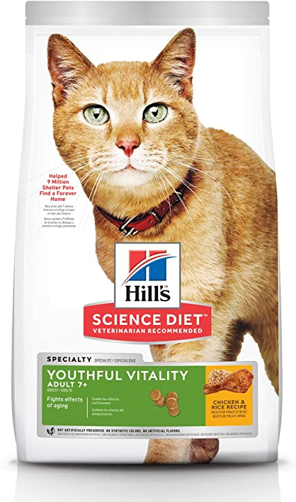 Hills Science Diet Dry Cat Food, Adult 7+ for Senior Cats, Youthful Vitality, Chicken & Rice Recipe