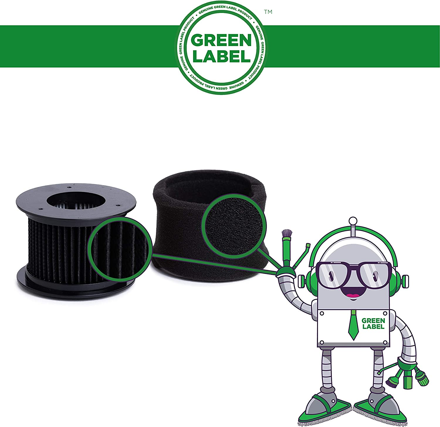 Green Label 2 Pack for Bissell PowerEdge Vacuum Filter Kit Washable and Reusable compares to 54A2