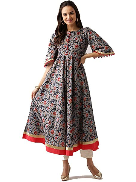 d45146e824 Pakistani Long Cotton Floral Grey Printed Kurta Kurti Women Dress (S ...
