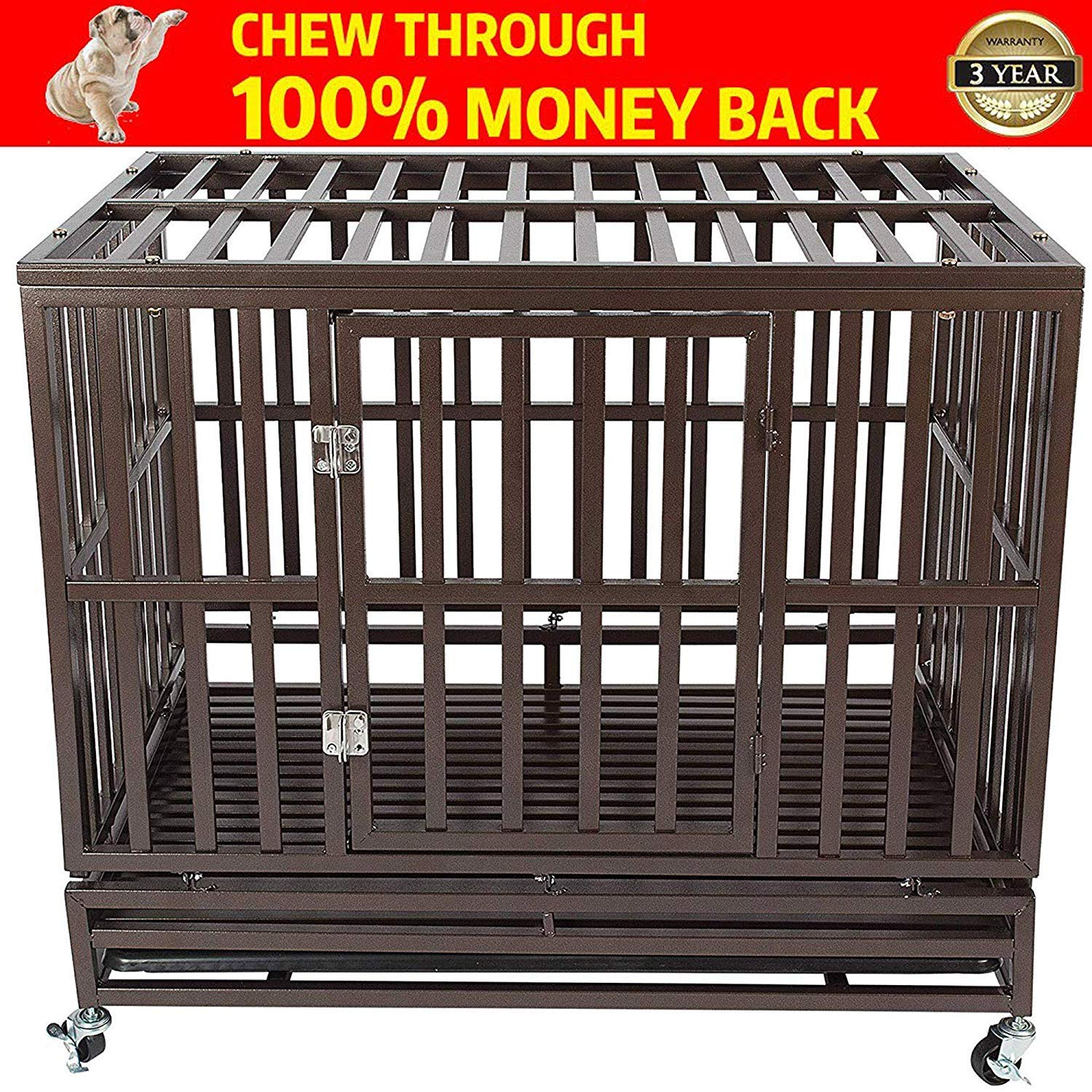 Gelinzon Heavy Duty Dog Crate Cage Kennel Playpen Large Strong Metal for Large Dogs and Pets with Patent Lock and Four Lockable Wheels, Easy to Assemble by Gelinzon