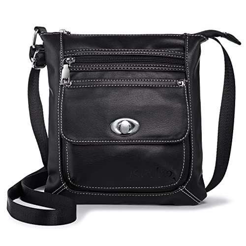 2956105d98cd Women Crossbody Purse Small Vegan Leather Shoulder Bag Cross Body Bags Soft  Casual Travel Purses Katloo (Black): Handbags: Amazon.com