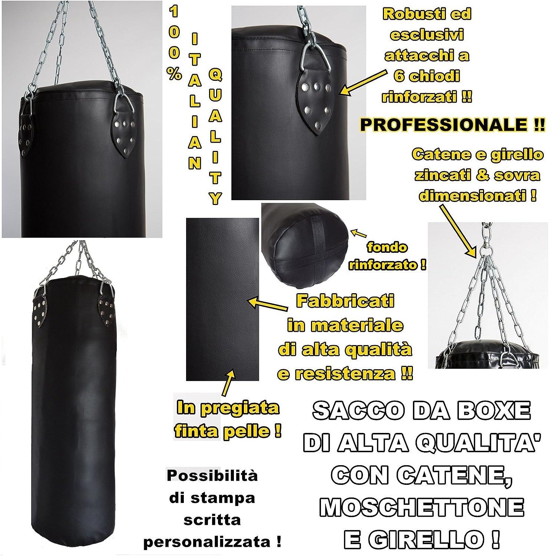 Saco de boxeo profesional relleno, de elevada calidad, 100% fabricado en Italia, de 100,120,150,180cm 120 150 180cm mmasport