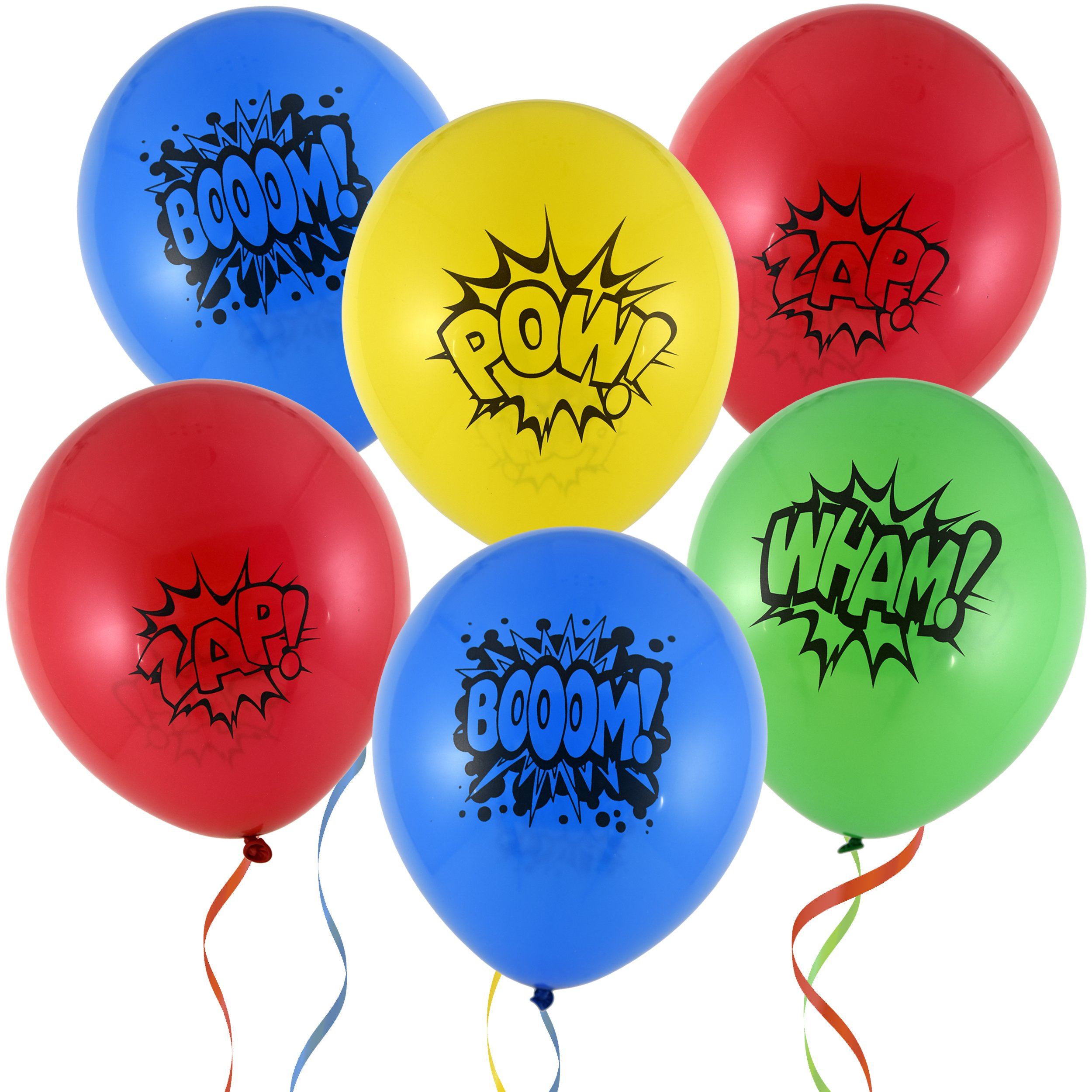 36 12'' Superhero Balloons 4 Assorted Colors & Designs Red Blue Yellow & Green for Kids Birthday Party Favor Supplies Decorations by Gift Boutique