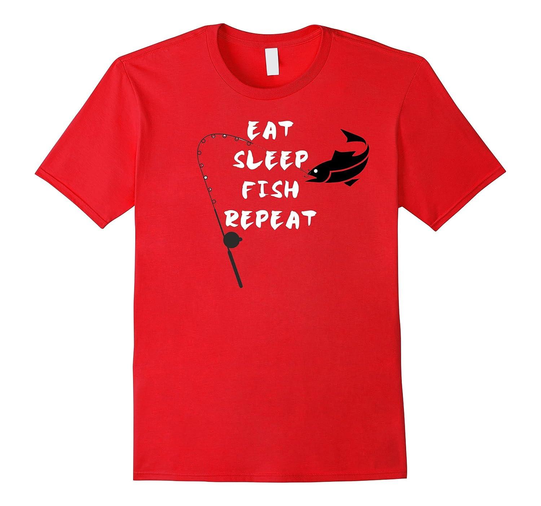 Fishing T-Shirt Eat Sleep Fish Repeat Tee Gift Shirt-FL