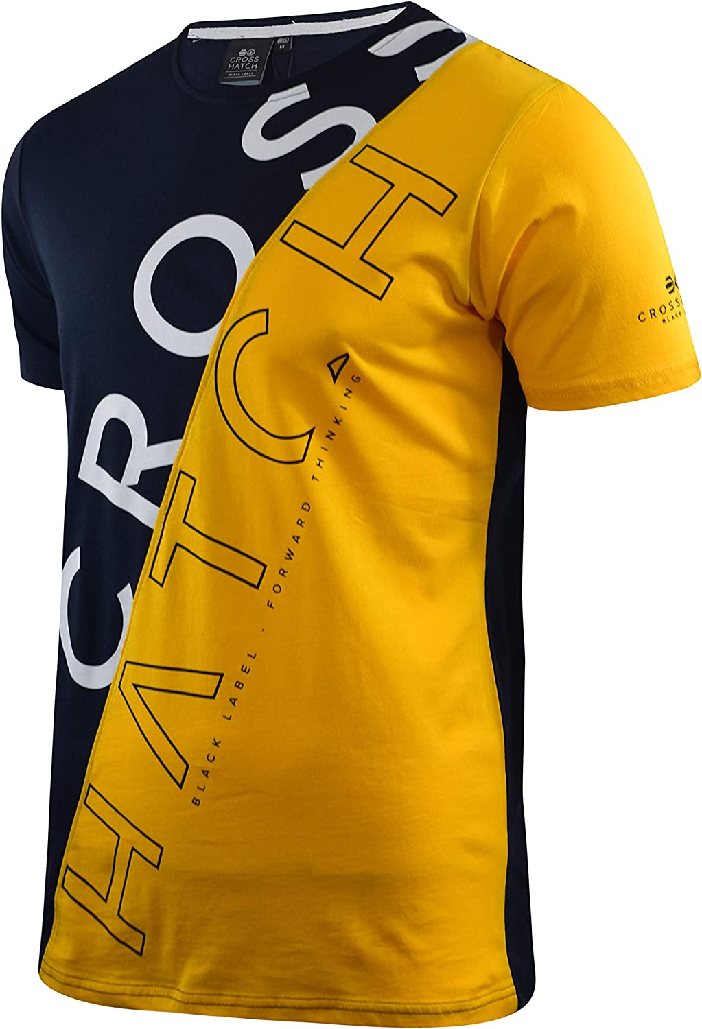 Mens Crosshatch T-Shirt Crew Neck Diag Contrast Top Tee Navy/Yellow Bt