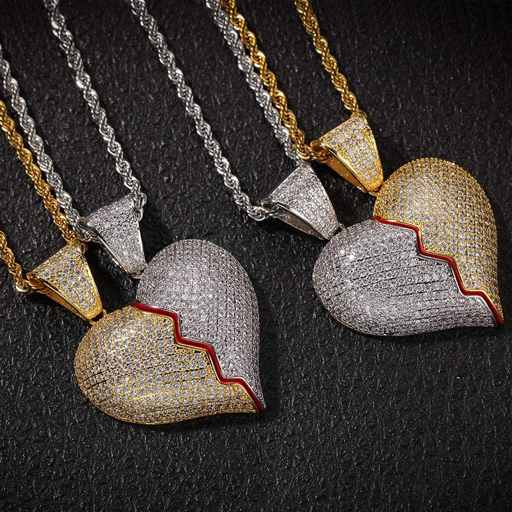 Baofum Hip Hop CZ Fully Iced Out Bling Diamond Cubic Zirconia Couple Heartbreak Pendant Necklace Twist Chain for Men Women
