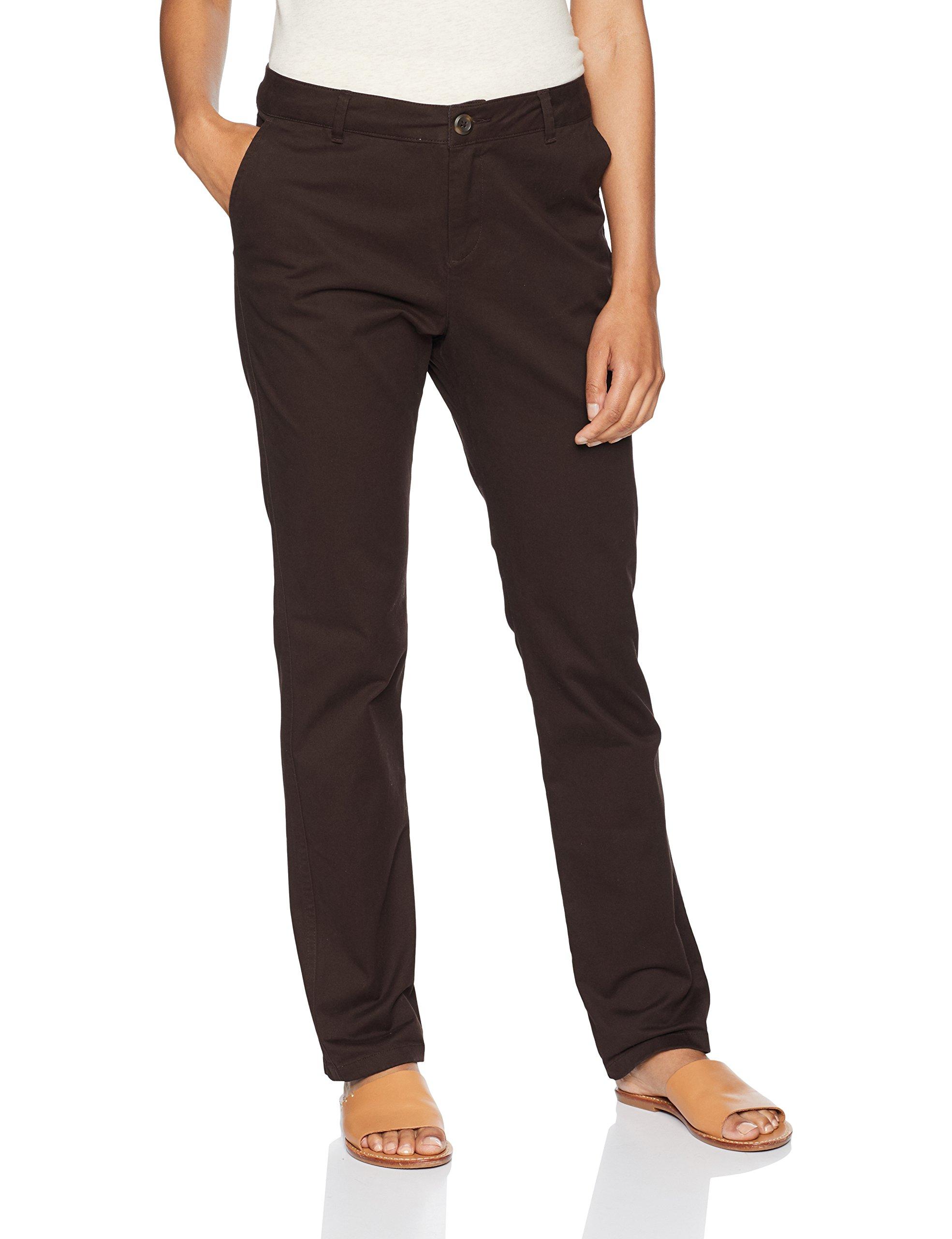 Amazon Essentials Women's Straight-Fit Stretch Twill Chino Pant, Brown, 18 Regular