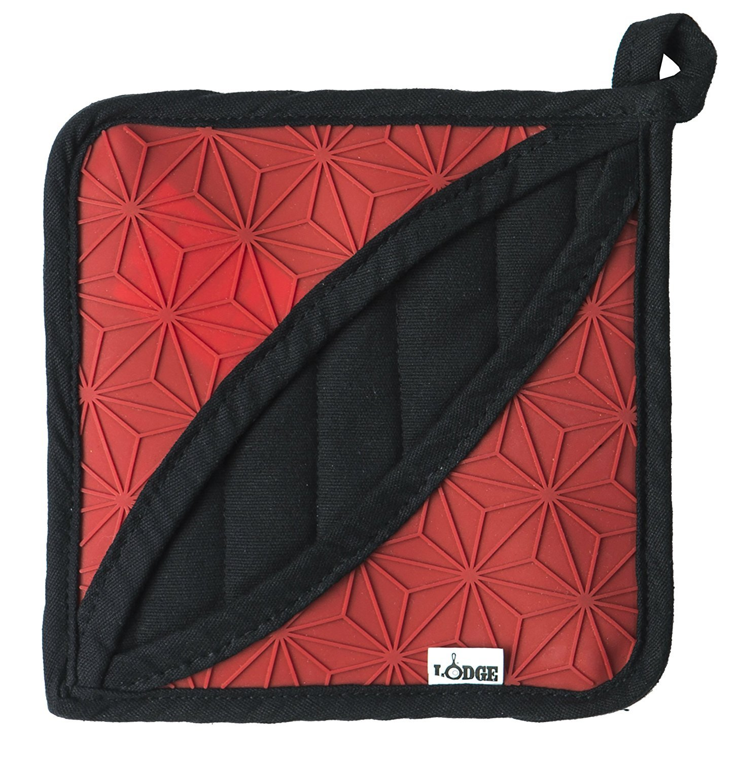 Lodge Silicone and Fabric Pot Holder for Seasoned Cast Iron Cooking (2 Pack) - Dual Purpose Oven Mitt and Trivet with Non-Slip Silicone and Fabric Design