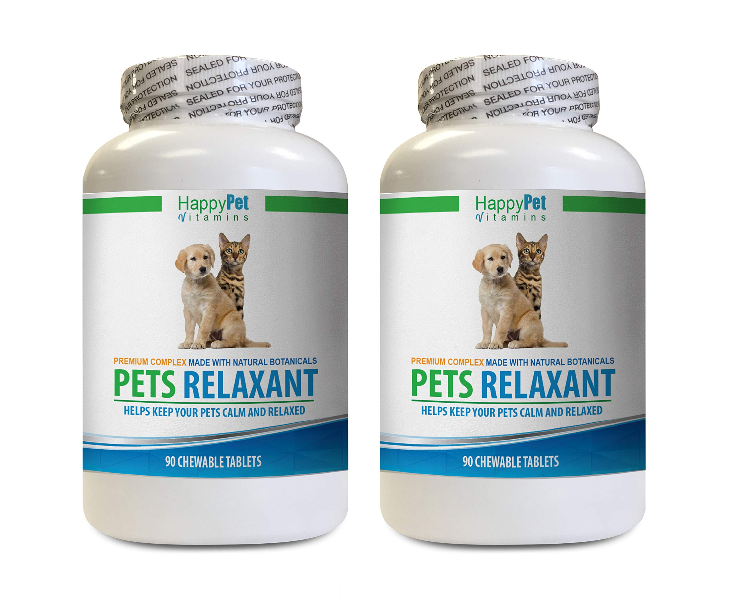 cat Stress Relief - PET Relaxant - Made for Dogs and Cats - Natural Anxiety and Stress Relief - Mood Boost - Best Formula - cat Anxiety Products - 2 Bottles (180 Treats) by HAPPY PET VITAMINS LLC