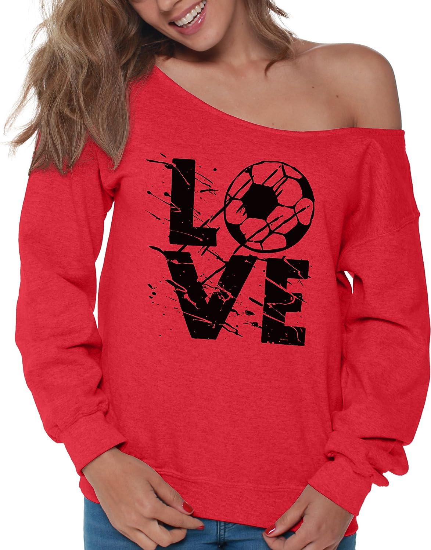 Vizor Womens Fun Soccer Love Off Shoulder Tops Sweatshirts for Soccer Lovers