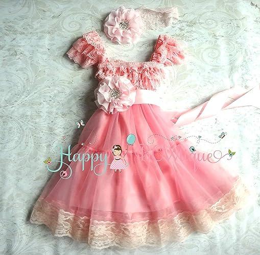 5be6bded2f3c Amazon.com  3 Pcs Pink Chiffon Lace Dress set ~ Flower Girl Dress ...