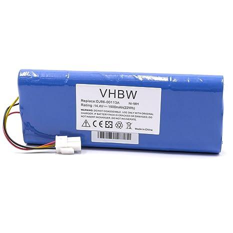 vhbw NiMH batería 1500mAh 14.4V para Robot limpiasuelos Robot autónomo de Limpieza Samsung Navibot VC-RE72V, VC-RL50V, VC-RL50VK, VC-RL52V, ...