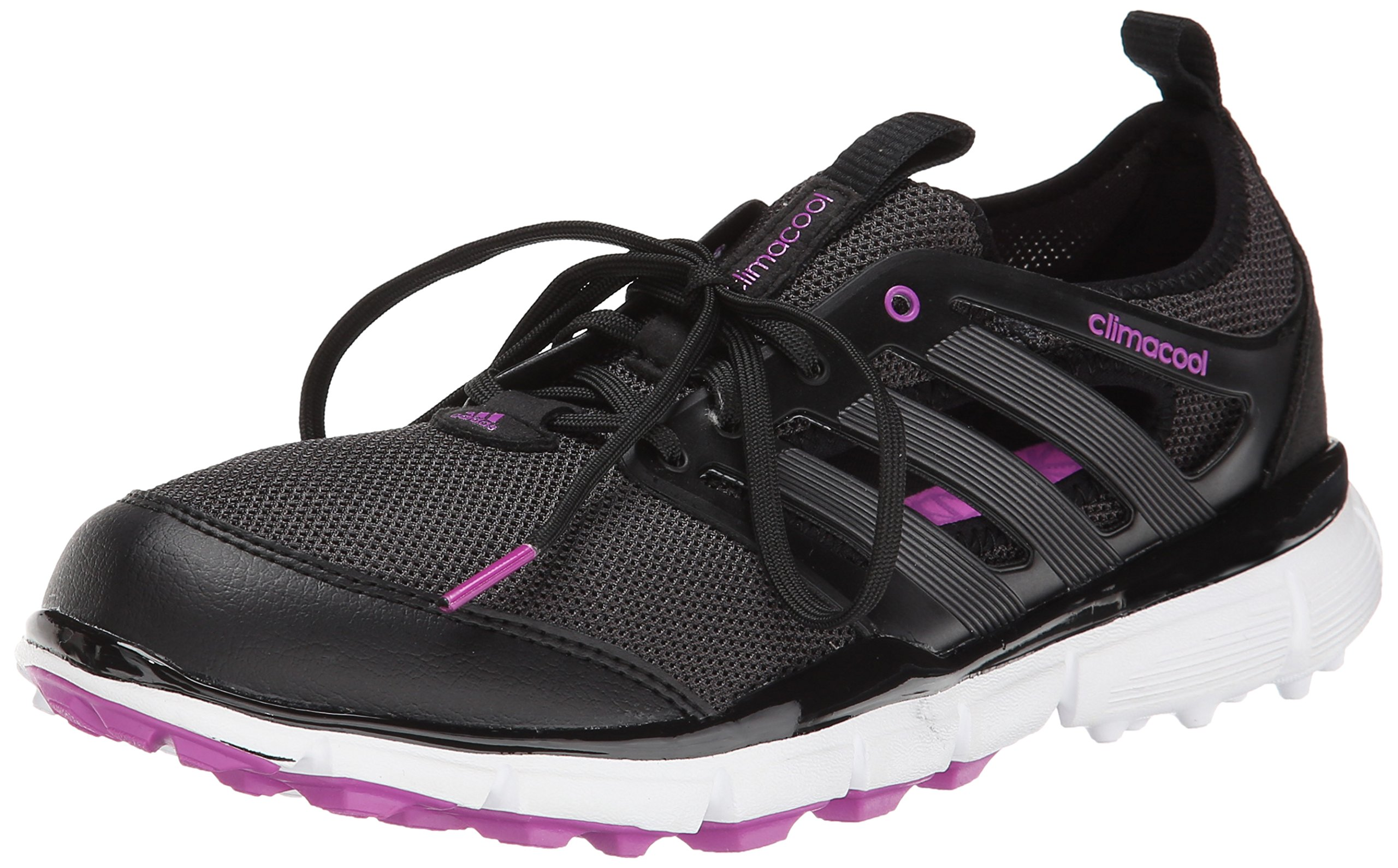 adidas Women's W Climacool II Golf Shoe, Core Black/Iron Metallic/Flash Pink, 8.5 M US