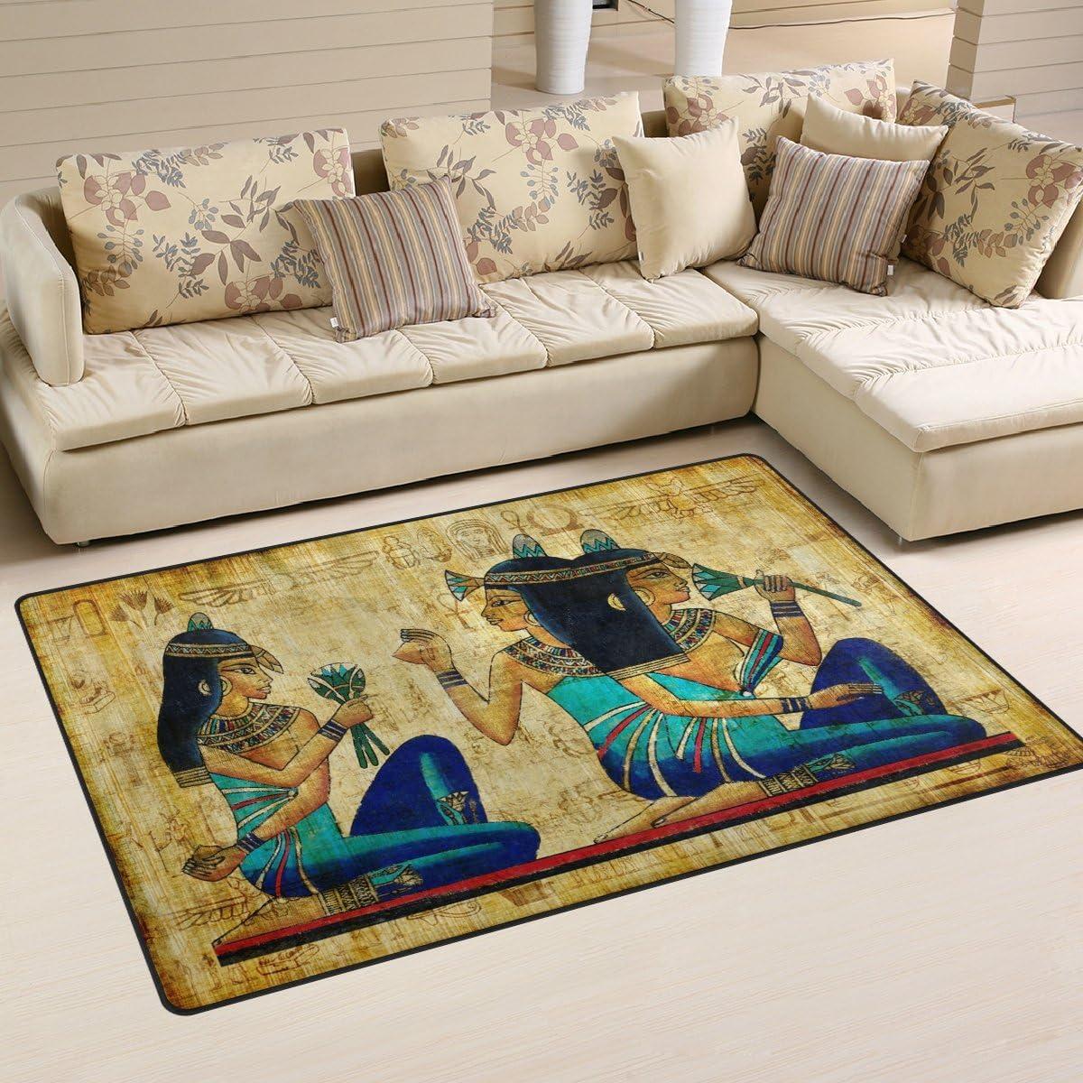 Yochoice Non-slip Area Rugs Home Decor, Ancienl Egyptian Woman Floor Mat Living Room Bedroom Carpets Doormats 60 x 39 inches