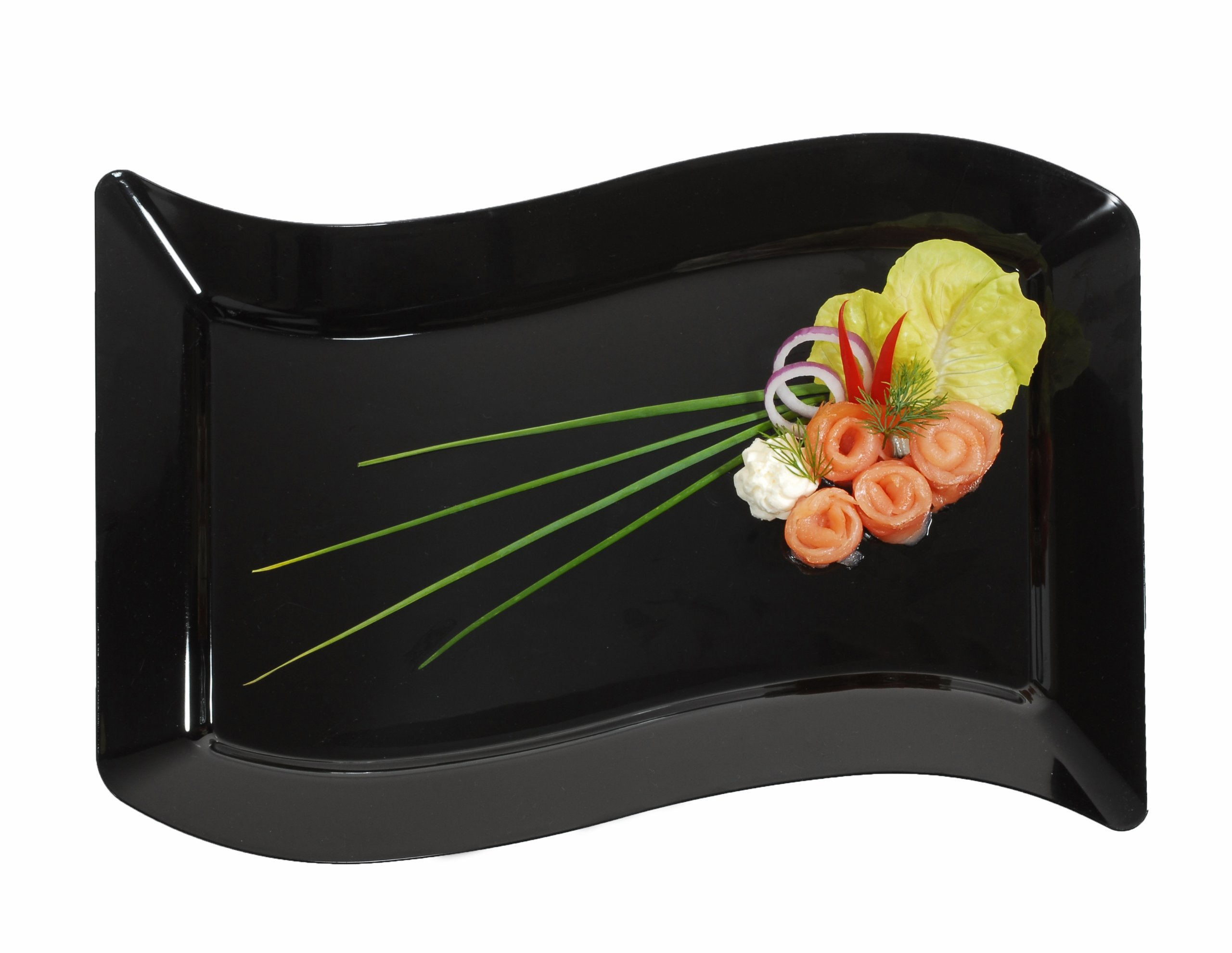 Fineline Settings Wavetrends Black Rectangular-Wave China-Like 7.5'' X 12'' Plate  120 Pieces