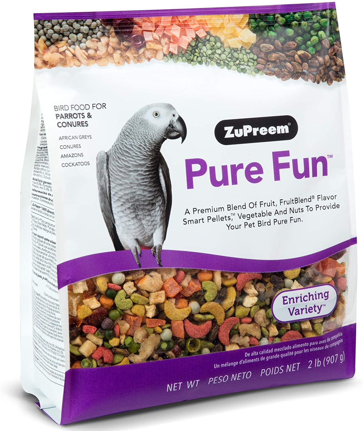 ZuPreem Pure Fun Bird Food for Parrots and Conures, 2 lb Bag (2-Pack) - Blend of Fruit, Natural FruitBlend Pellets, Vegetables, Nuts for Caiques, African Greys, Senegals, Amazons, Eclectus, Cockatoos
