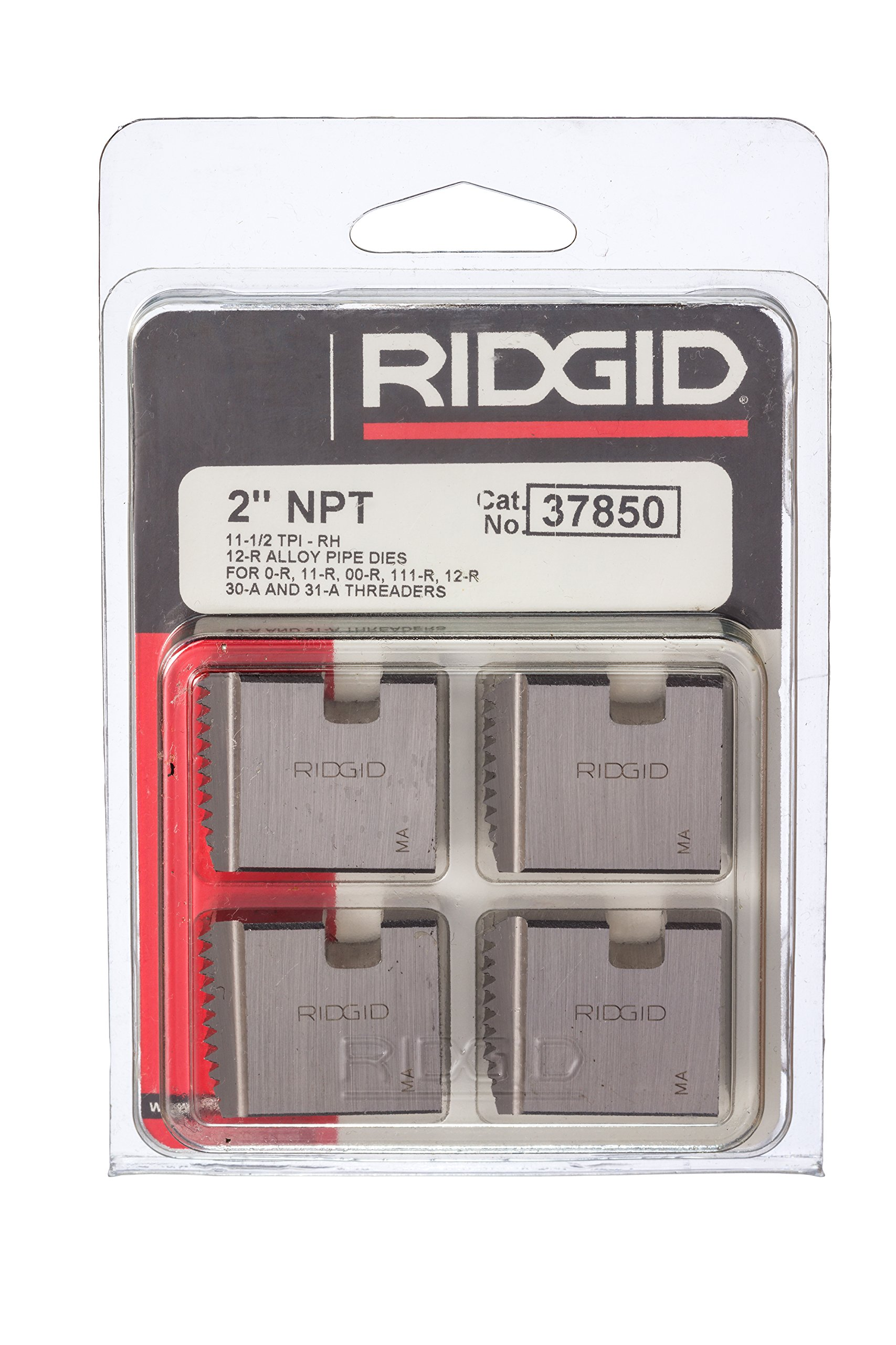 RIDGID 37850 Manual Threader Pipe Dies, Right-Handed Alloy NPT Pipe Dies with Nominal Pipe Size of 2-Inches for Ratchet Threaders or 3-Way Pipe Threaders