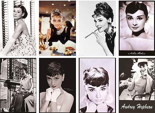 Audrey Hepburn Retro Vintage Tin Sign 8pcs 30cm*20cm 7.87*11.81inch
