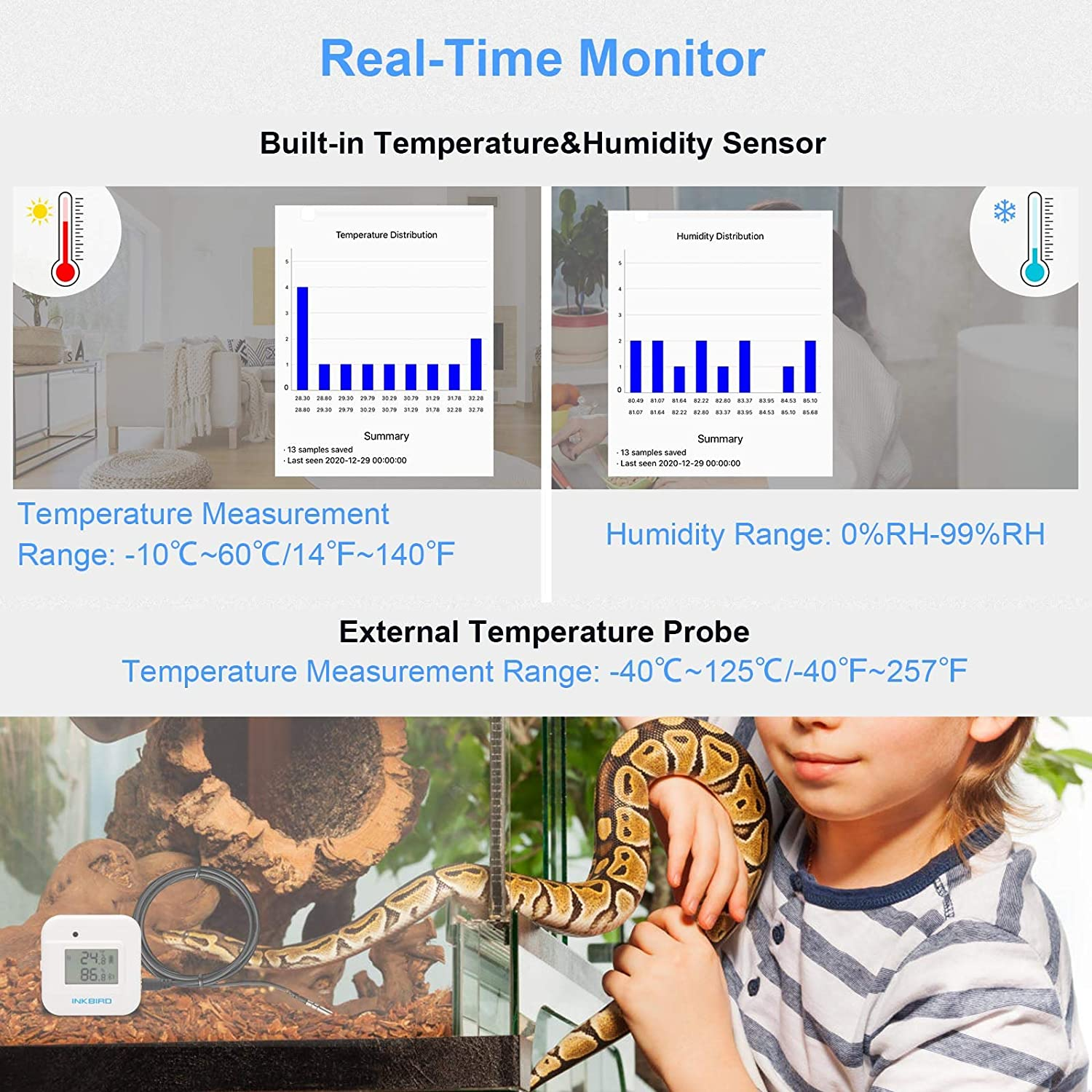 Free APP for iOS and Android Inkbird Smart Thermometer Temperature and Humidity Monitor Hygrometer Indoor IBS-TH2 Plus Version Supports External Probe and Digital Display