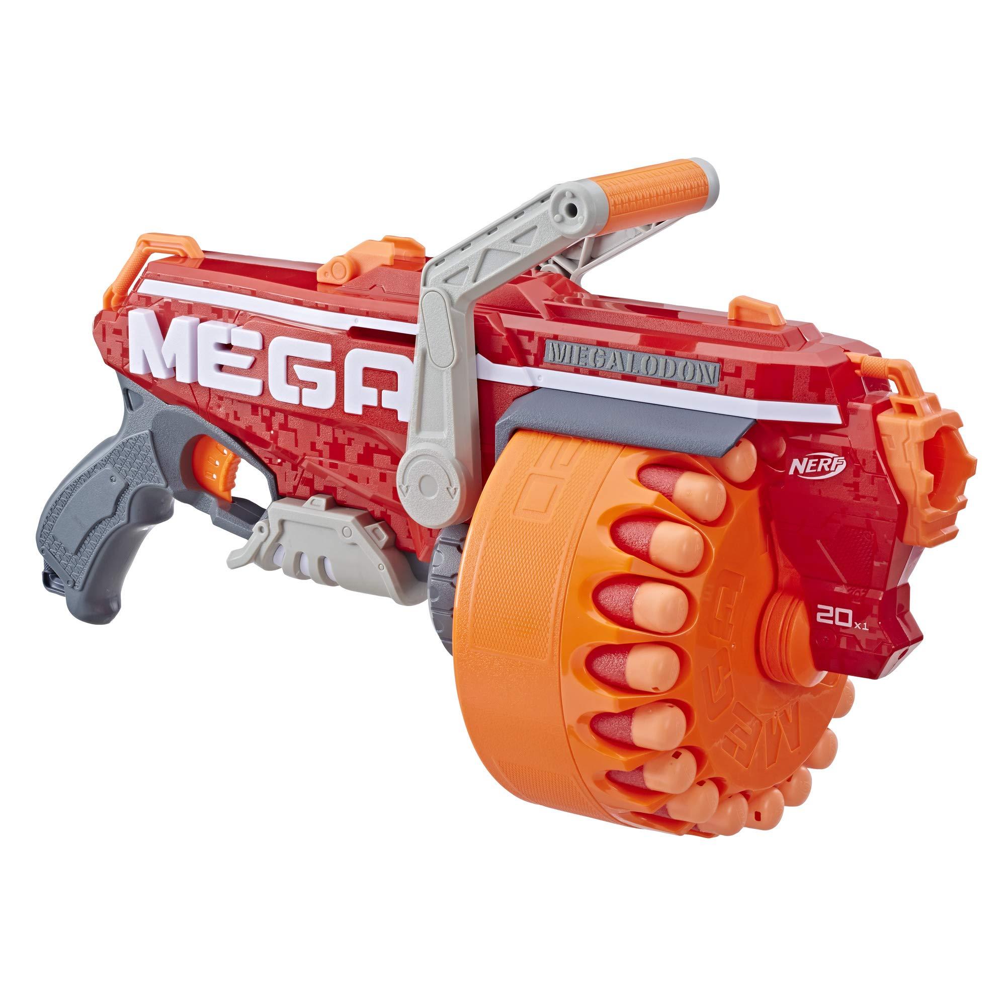 NERF Megalodon N-Strike Mega Toy Blaster with 20 Official Mega Whistler Darts Includes: Blaster, Drum, 20 Darts, & Instructions by NERF
