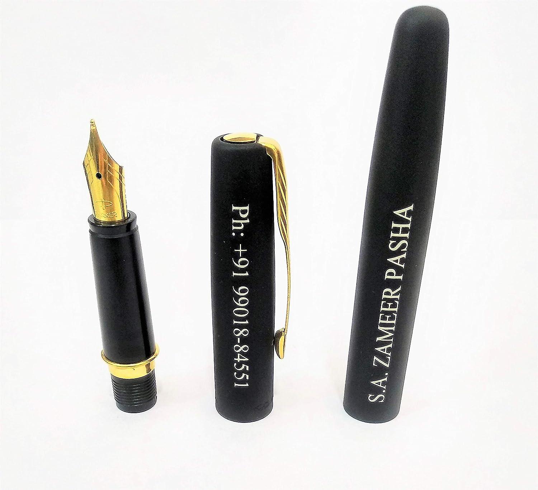Parker Frontier Matte Black Gold Trim Nib Ink Fountain Pen 3 Blue Ink USA SELL
