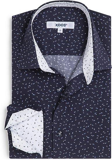 Xoos Paris - Camisa ajustada para hombre, manga larga, cuello ...