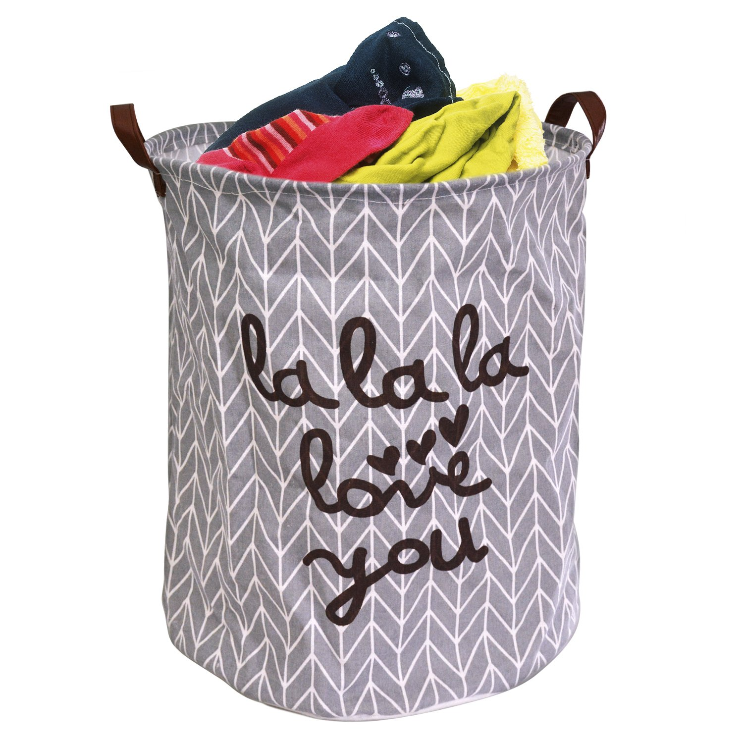Easy-Tang Large Laundry Hamper Bucket Waterproof Coating Storage Bin Collapsible Washing Basket Home Nursery Toy Organizer (Grey LaLaLa Love You)