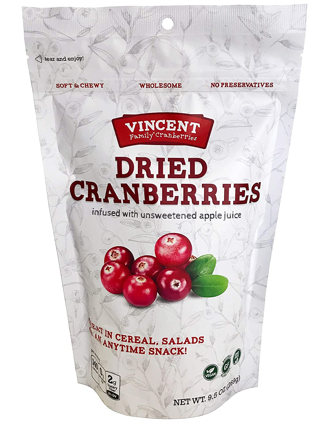 Vincent Family Dried Cranberries Infused With Unsweetened Apple Juice, 9.5 Oz
