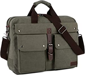 BAOSHA BC-07 17inch Canvas Laptop Computer Bag Messenger Bag Multicompartment Briefcase (Amy Green)