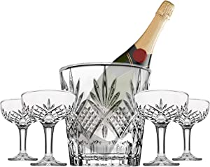 Champagne Coupe and Ice Bucket Cocktail Glasses Set - Dublin Barware Mixology Collection