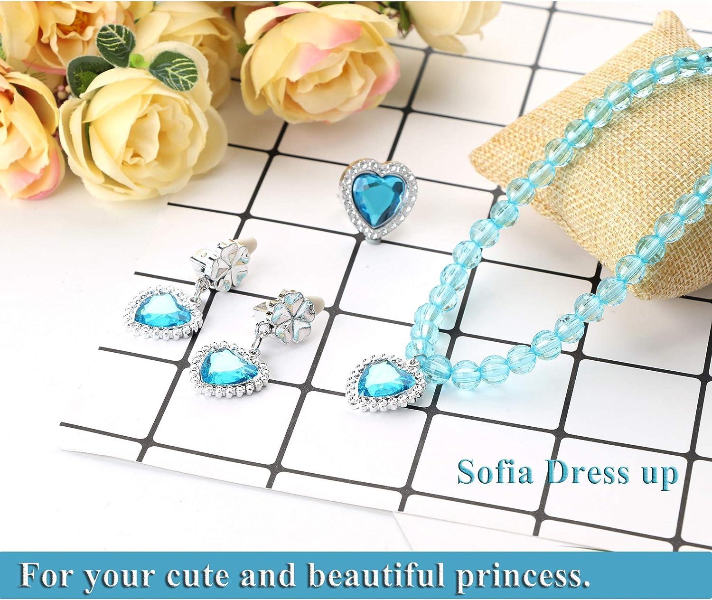 Finrezio Costume Princesse Parure Couronne Baguette Magie Collier Gants Boucles doreilles pour Enfants Fille Cosplay Carnaval
