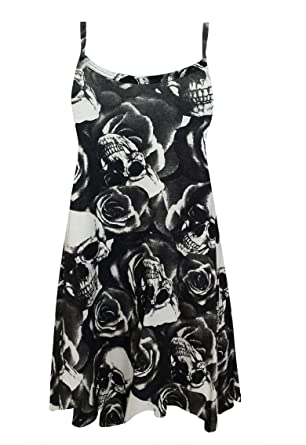 6134753c4130b AS Fashion Ladies Printed Swing Vest Flared Dress Womens Strappy Sleeveless  Top Plus 8-18  Amazon.co.uk  Clothing