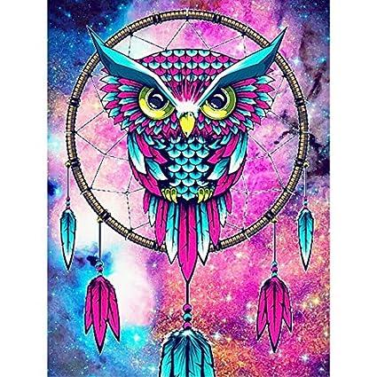 ed38ace37fe27 Amazon.com  Diamond Painting Cross Stitch Kits - PigBoss Animal Diamond  Embroidery Owl Dream Catcher Mosaic Pattern Gift (11.8 X 15.7 in)  Arts