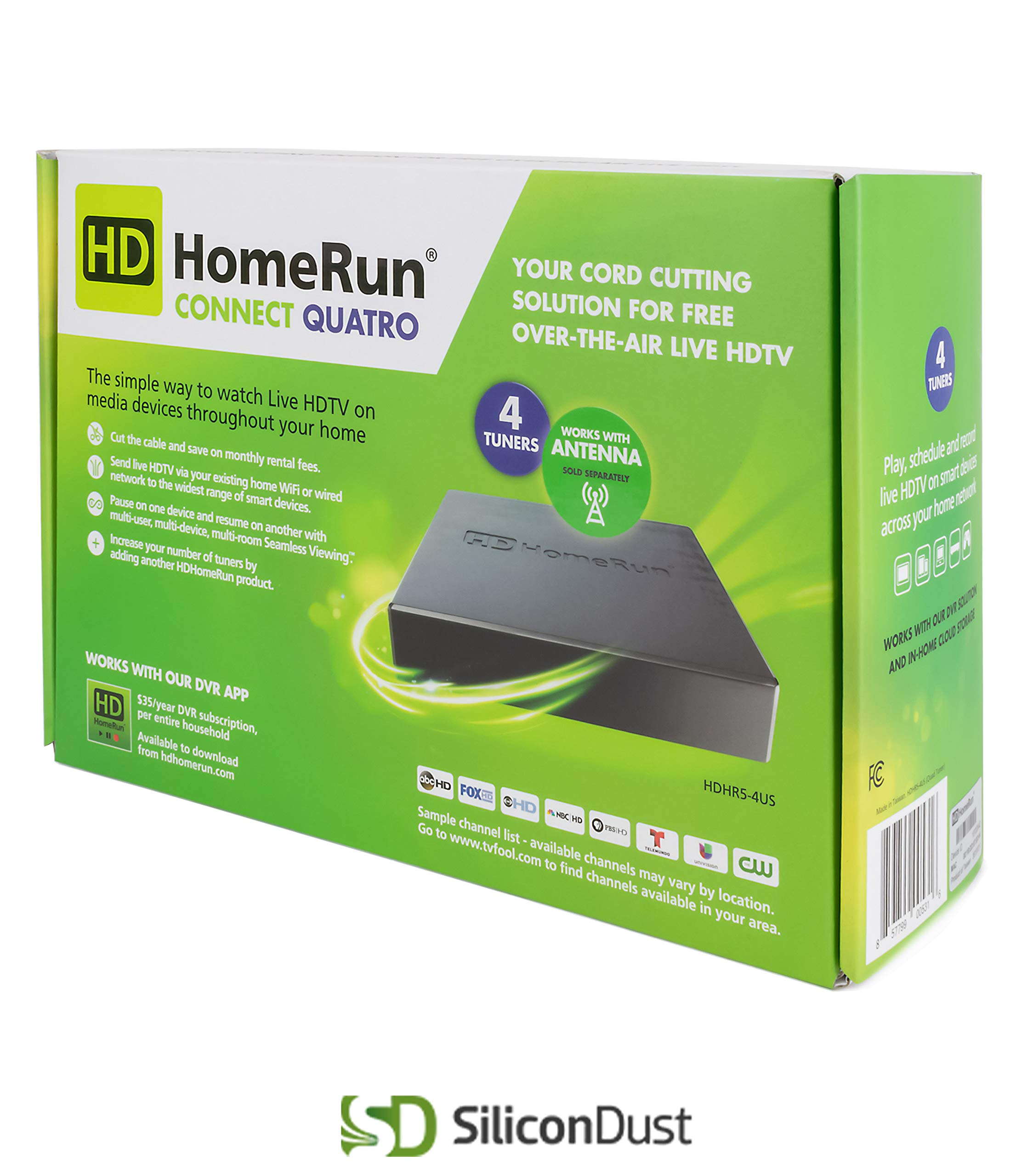 SiliconDust HDHR5-4US HDHomeRun Connect Quatro 4-Tuner Live TV for Cord Cutters (Renewed) by SiliconDust