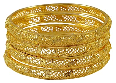 Engagement & Wedding Jewelry & Watches Beautiful Goldtone 2pc Bangle Set Traditional Ethnic Kada Bracelet Wedding Jewellery 2*10