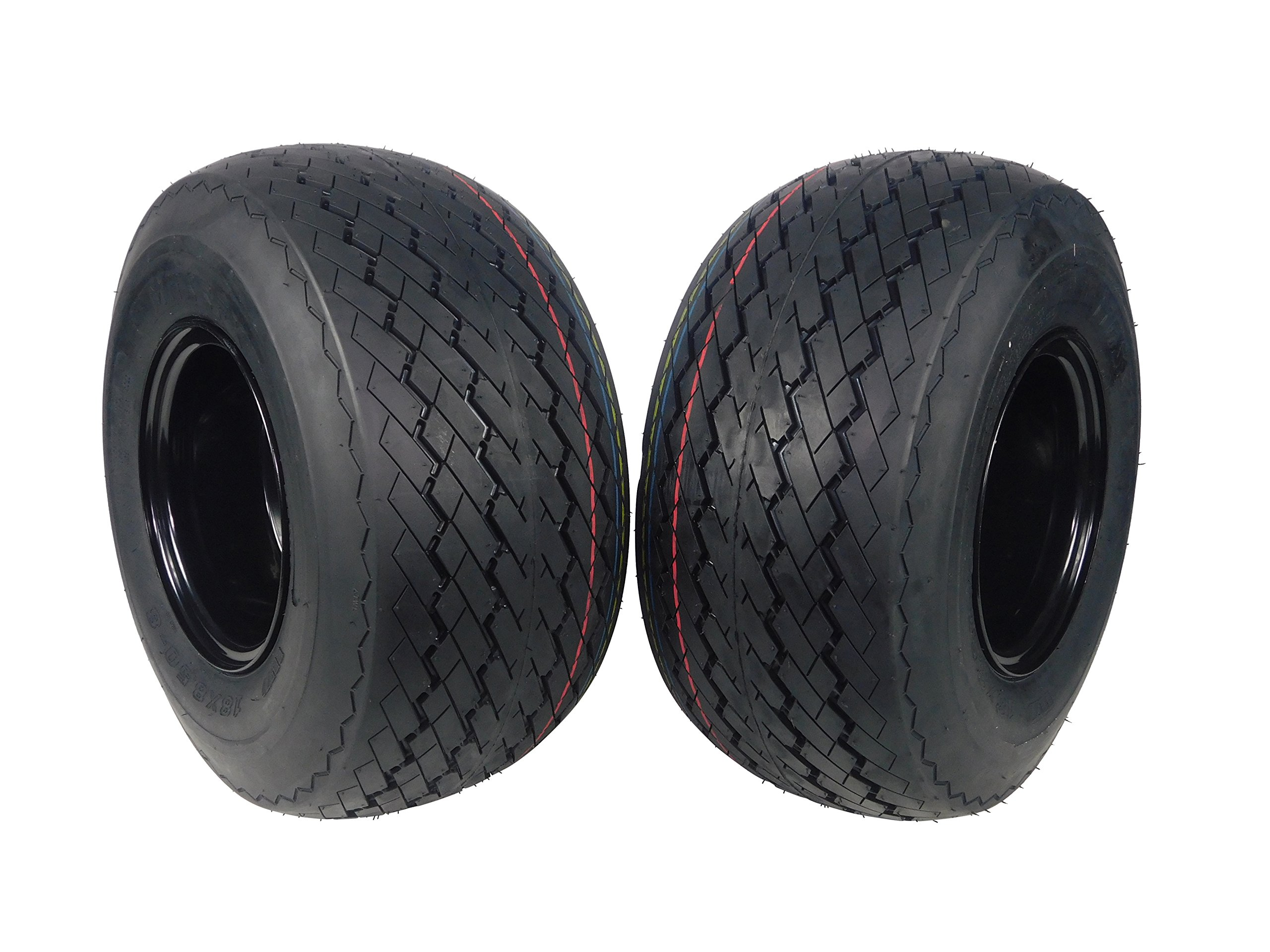 MASSFX Wheel & Tire Golf Cart Tire 18x8.5-8 with Black MASSFX 8x7 4/4 Rim 2 PACK