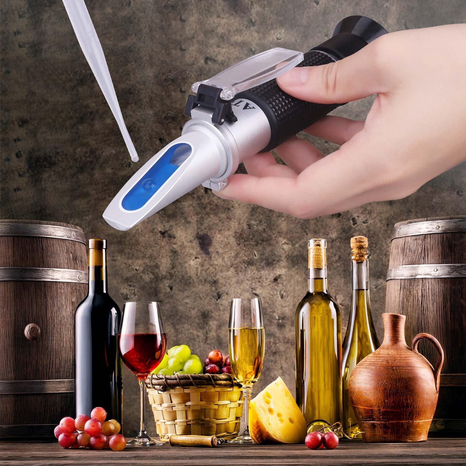 Tiaoyeer Brix Refractometer with ATC Digital Handheld Refractometer for Beer Wine Fruit Sugar, Dual Scale-Specific Gravity 1.000-1.130 and Brix 0-32% (Black) by Tiaoyeer (Image #4)