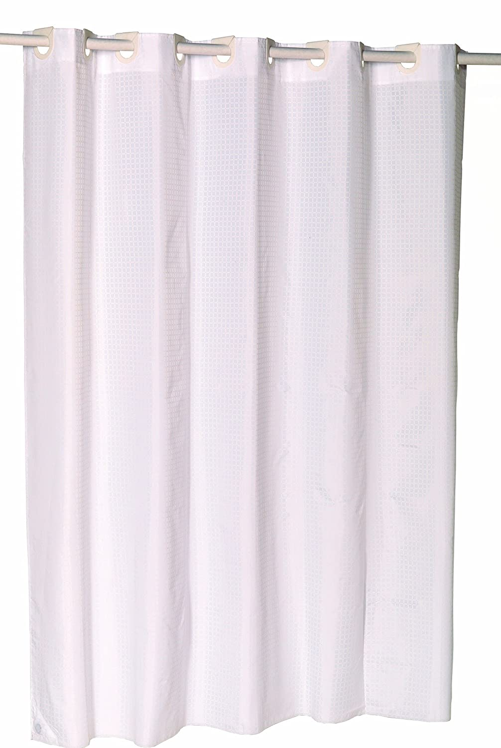 Amazon Carnation Home Fashions EZ On No Hooks Needed 70 By 84 Inch Fabric Shower Curtain X Long Checks In White Kitchen