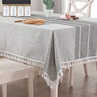 Vailge Table Cloth Cotton Linen 140x180cm, Dinning Table Cover Waterproof, Washable Table Linen for Dinning Kitchen…