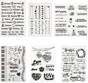 Kesote 6 Hojas Sellos de Silicona Transparente para DIY Manualidades Scrapbooking Álbumes de Recortes Tarjetas: Amazon.es: Oficina y papelería