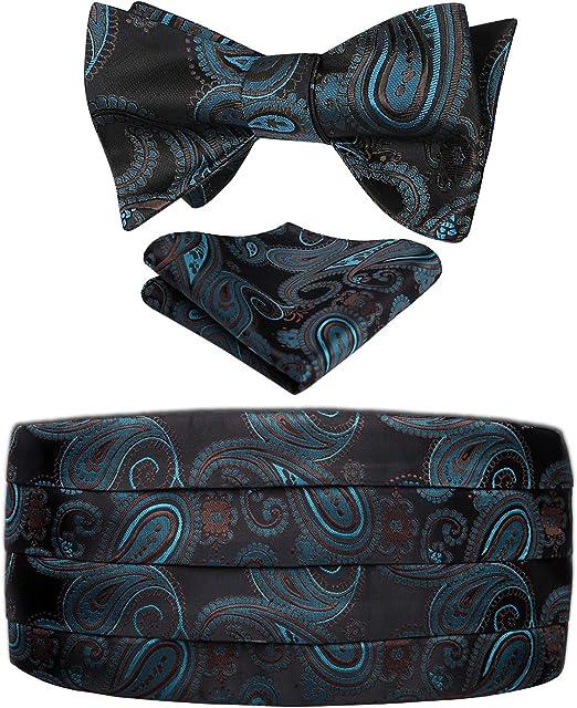 Paisley Floral Men/'s Formal Cummerbund Self Bow Tie Pocket square  Various Set