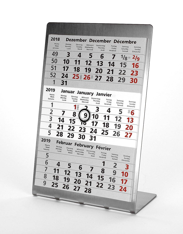 Edelstahl TypA4 - Aufstellkalender HiCuCo 3-Monats-Tischkalender f/ür 2 Jahre 2019 und 2020