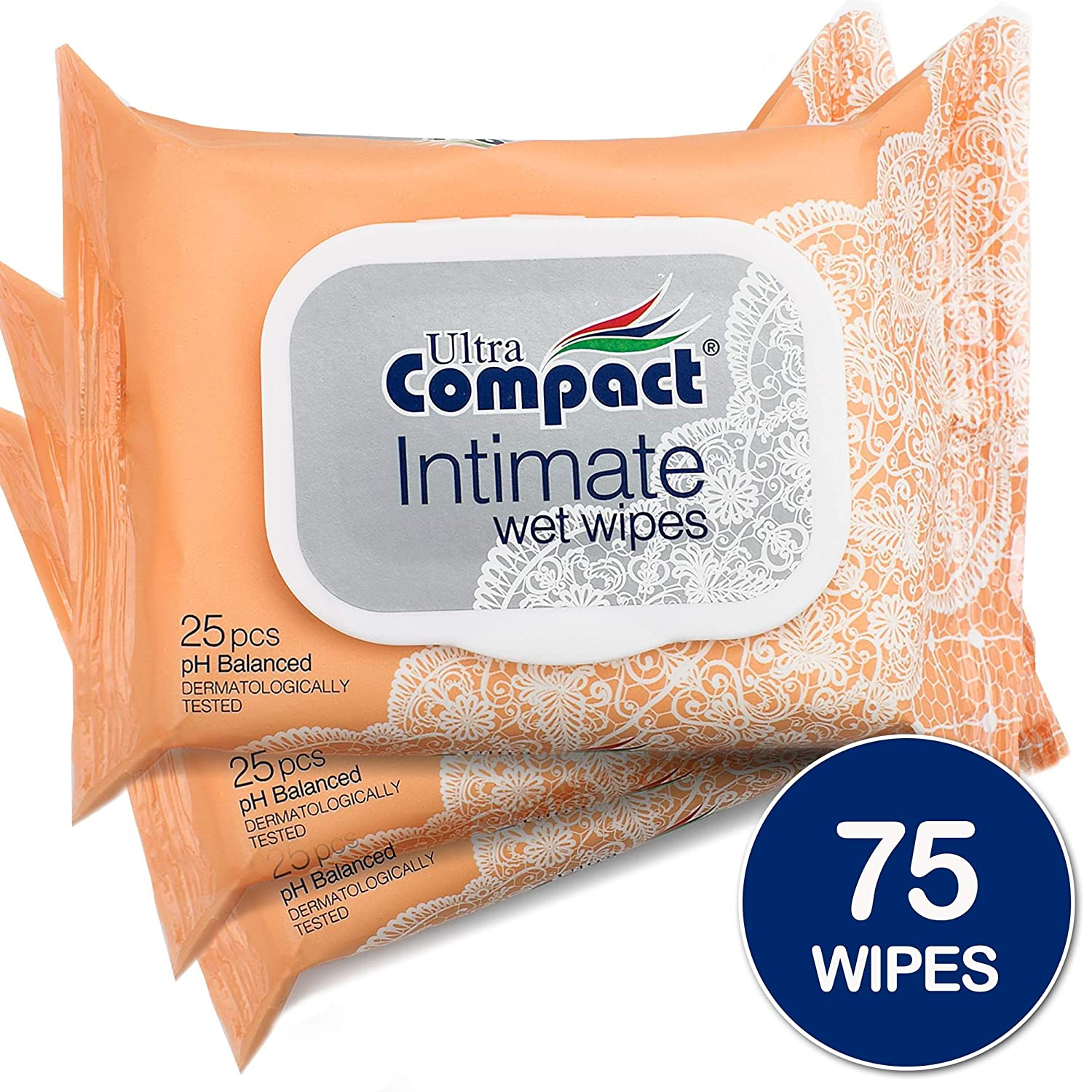 Ultra Compact Body Wipes for Women - Health and Beauty Feminine Wipes - pH-Balanced Cleansing Cloths - Shea Butter Fragrance - 25 Cleansing Wipes per Pack - Re-Sealable 3 Packs