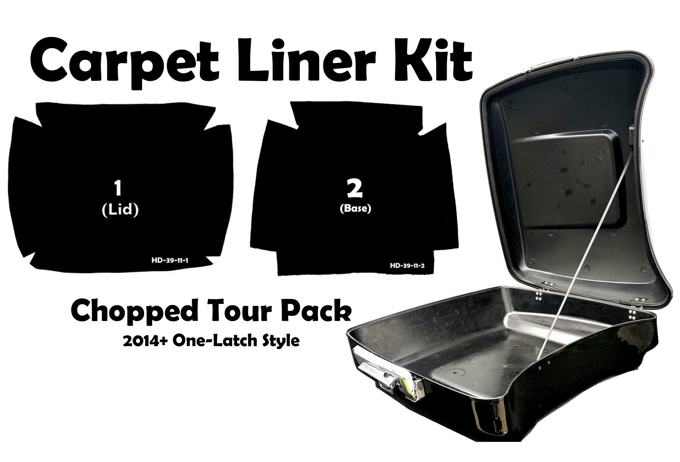 Carpet Liner Kit for 2014-2018 One Latch Style Harley-Davidson Chopped Tour Pak Pack (Black)
