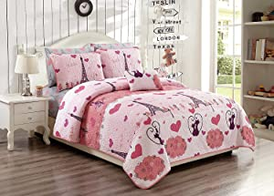 Elegant Home Paris Eiffel Tower Bonjour Design Multicolors Pink White Fun Printed Reversible Cozy Colorful 3 Piece Quilt Bedspread Set with Decorative Pillow for Kids/Girls (Twin/Twin XL Size)